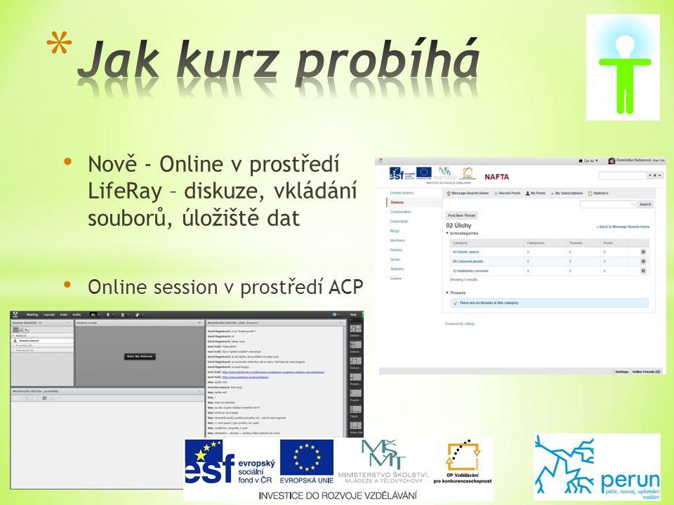 • Nově - Online v prostředí LifeRay – diskuze, vkládání souborů, úložiště dat • Online session v prostředí ACP