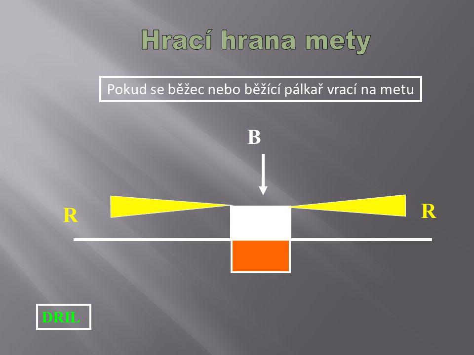 Pokud se běžec nebo běžící pálkař vrací na metu DRIL R R B