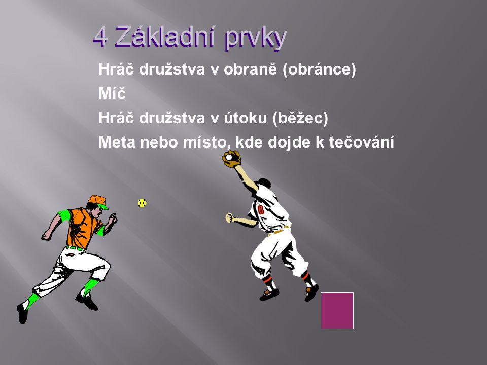 4 Základní prvky Hráč družstva v obraně (obránce) Míč Hráč družstva v útoku (běžec) Meta nebo místo, kde dojde k tečování