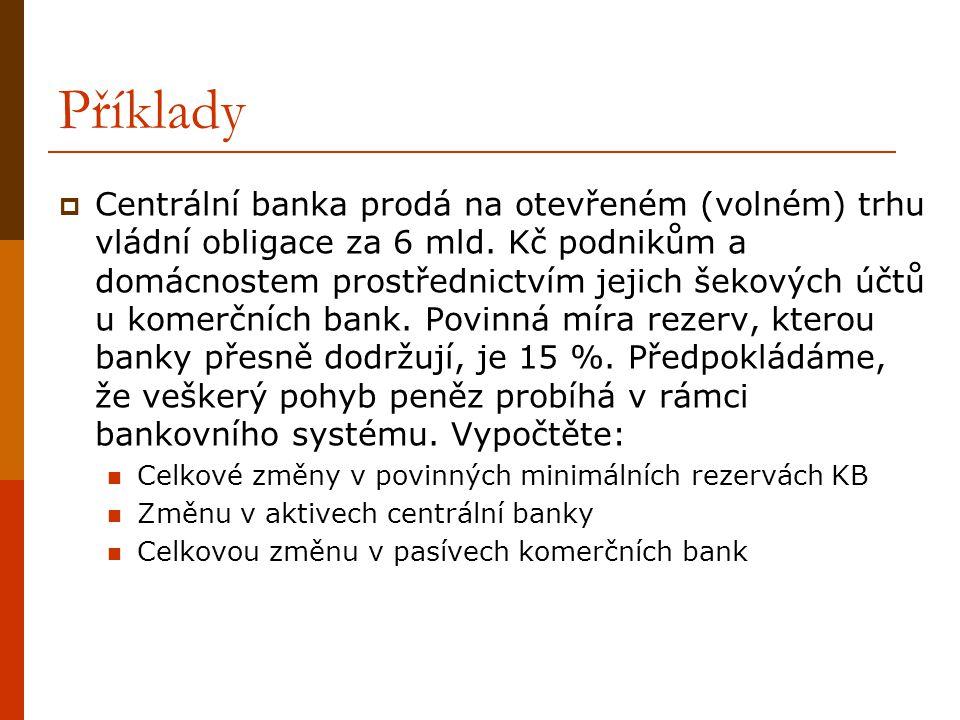 Příklady  Centrální banka prodá na otevřeném (volném) trhu vládní obligace za 6 mld. Kč podnikům a domácnostem prostřednictvím jejich šekových účtů u