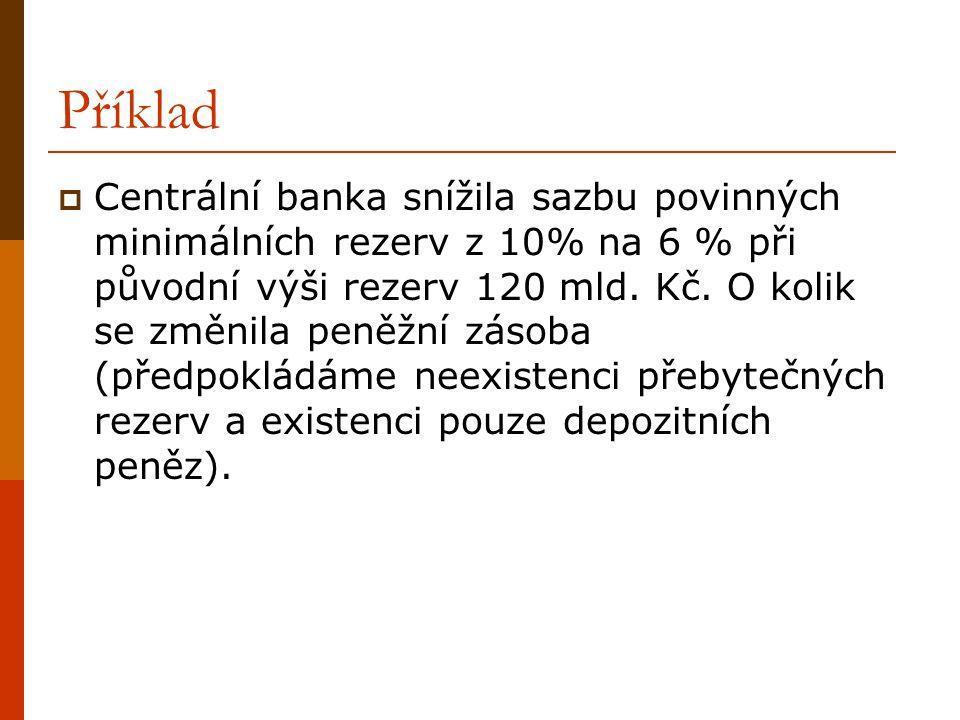Příklad  Centrální banka snížila sazbu povinných minimálních rezerv z 10% na 6 % při původní výši rezerv 120 mld. Kč. O kolik se změnila peněžní záso
