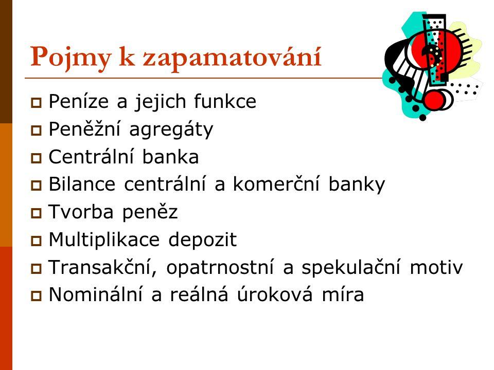 Pojmy k zapamatování  Peníze a jejich funkce  Peněžní agregáty  Centrální banka  Bilance centrální a komerční banky  Tvorba peněz  Multiplikace
