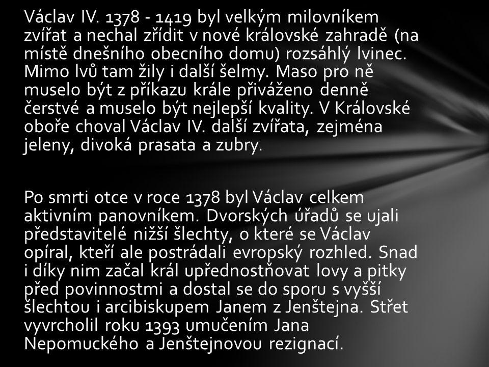 Václav IV. 1378 - 1419 byl velkým milovníkem zvířat a nechal zřídit v nové královské zahradě (na místě dnešního obecního domu) rozsáhlý lvinec. Mimo l