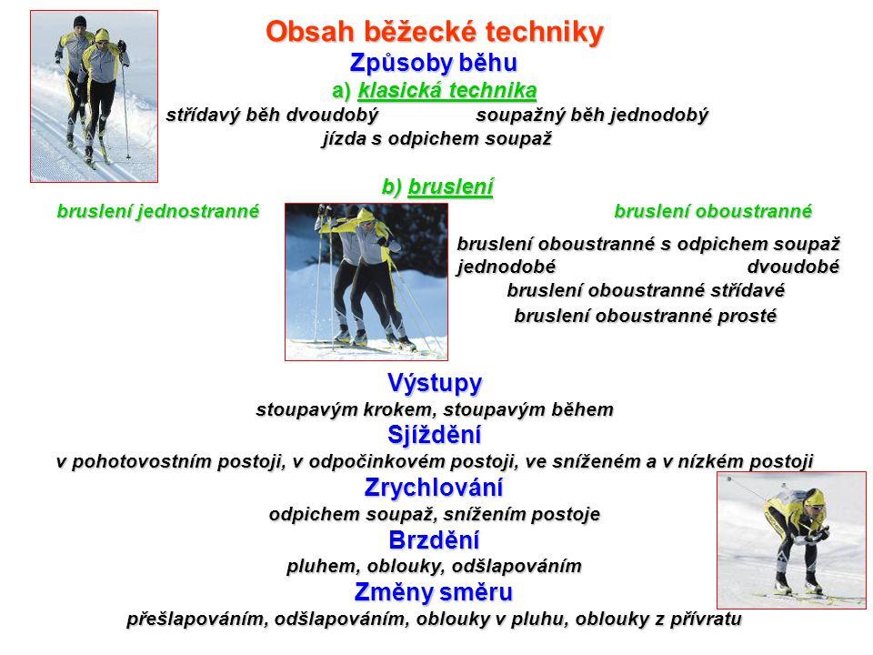 Obsah běžecké techniky Způsoby běhu a) klasická technika střídavý běh dvoudobý soupažný běh jednodobý jízda s odpichem soupaž b) bruslení bruslení jed