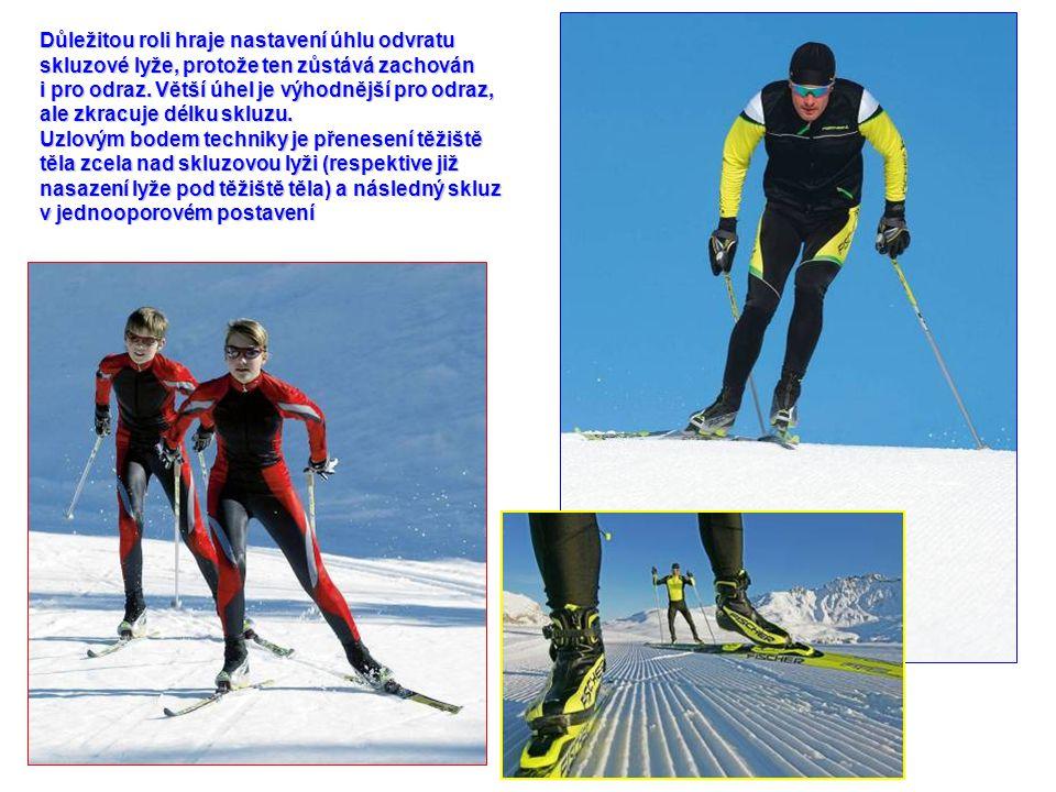 Důležitou roli hraje nastavení úhlu odvratu skluzové lyže, protože ten zůstává zachován i pro odraz. Větší úhel je výhodnější pro odraz, ale zkracuje