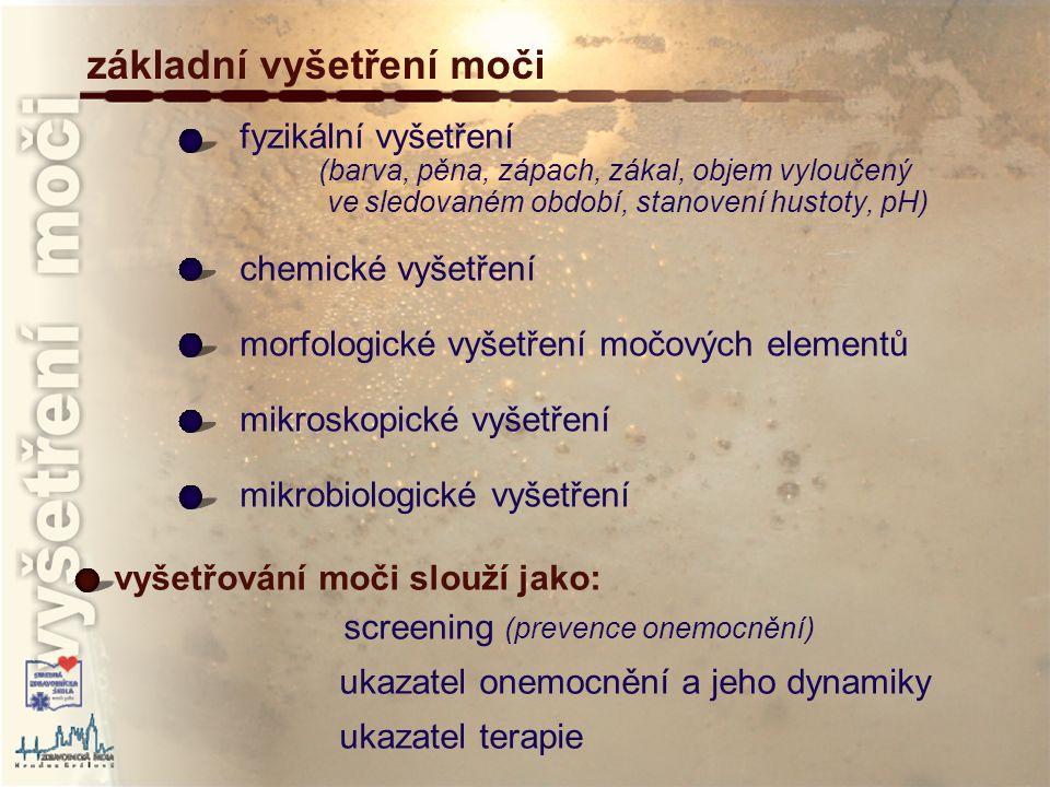 fyzikální vyšetření moči - objem ukazatel koncentrační a zřeďovací schopnosti ledvin objem moči závisí: na příjmu tekutin objemu vyloučené vody potem, stolicí (průjmy), dýcháním funkčním stavu ledvin věku normální hodnoty objemu moči: novorozenci: 30-60ml/denně děti: cca 700 ml/denně dospělí: 500-2 000 ml/denně (4/5 moči ve dne, 1/5 v noci) stanovení denního množství moči – odměrným válcem