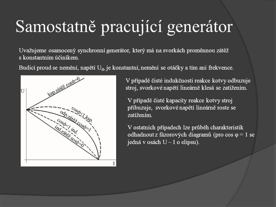 Samostatně pracující generátor Uvažujeme osamocený synchronní generátor, který má na svorkách proměnnou zátěž s konstantním účiníkem. Budicí proud se