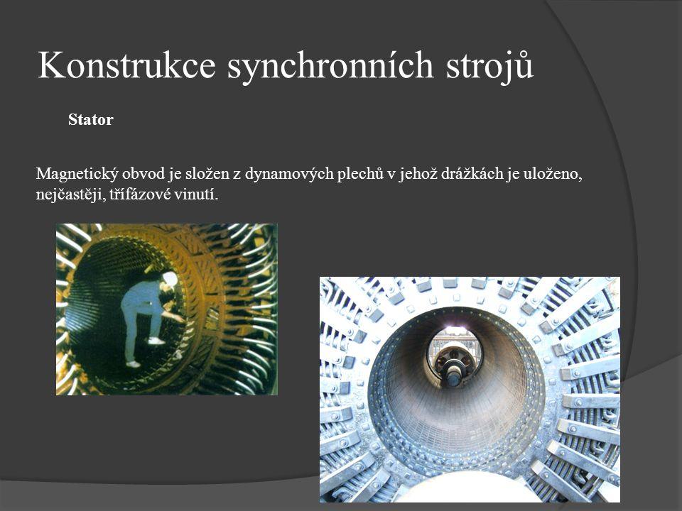 Konstrukce synchronních strojů Magnetický obvod je složen z dynamových plechů v jehož drážkách je uloženo, nejčastěji, třífázové vinutí. Stator