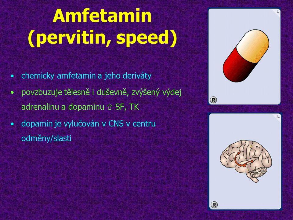 Amfetamin (pervitin, speed) •chemicky amfetamin a jeho deriváty •povzbuzuje tělesně i duševně, zvýšený výdej adrenalinu a dopaminu  SF, TK •dopamin j