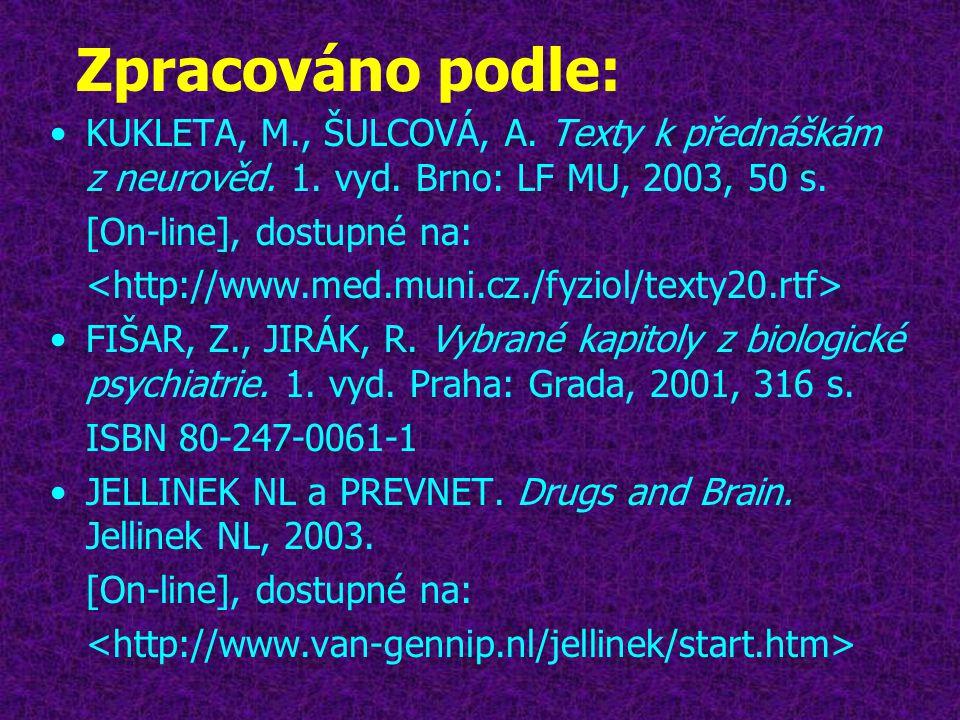Zpracováno podle: •KUKLETA, M., ŠULCOVÁ, A. Texty k přednáškám z neurověd. 1. vyd. Brno: LF MU, 2003, 50 s. [On-line], dostupné na: •FIŠAR, Z., JIRÁK,