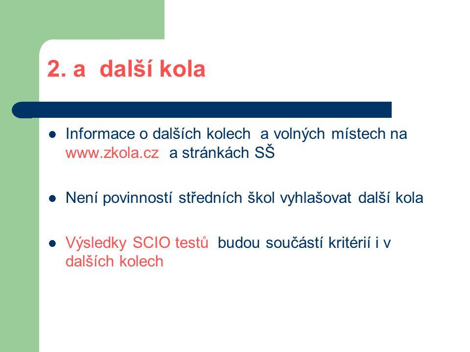 2. a další kola  Informace o dalších kolech a volných místech na www.zkola.cz a stránkách SŠ  Není povinností středních škol vyhlašovat další kola 