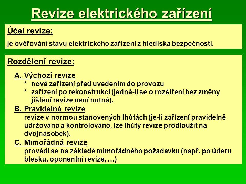 Revize elektrického zařízení Účel revize: je ověřování stavu elektrického zařízení z hlediska bezpečnosti. Rozdělení revize: A.Výchozí revize *nová za