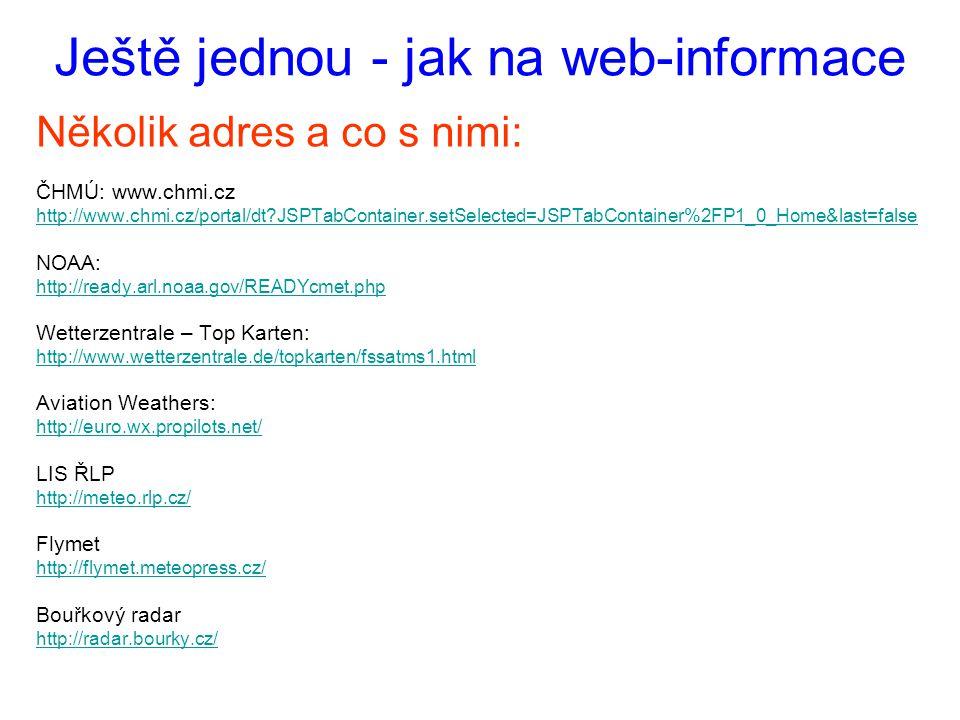 Ještě jednou - jak na web-informace Několik adres a co s nimi: ČHMÚ: www.chmi.cz http://www.chmi.cz/portal/dt?JSPTabContainer.setSelected=JSPTabContai