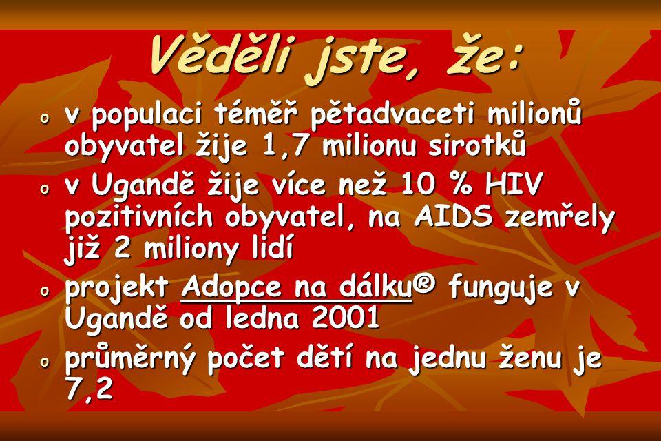 Věděli jste, že: ovovovov populaci téměř pětadvaceti milionů obyvatel žije 1,7 milionu sirotků ovovovov Ugandě žije více než 10 % HIV pozitivních obyvatel, na AIDS zemřely již 2 miliony lidí opopopoprojekt Adopce na dálku® funguje v Ugandě od ledna 2001 opopopoprůměrný počet dětí na jednu ženu je 7,2