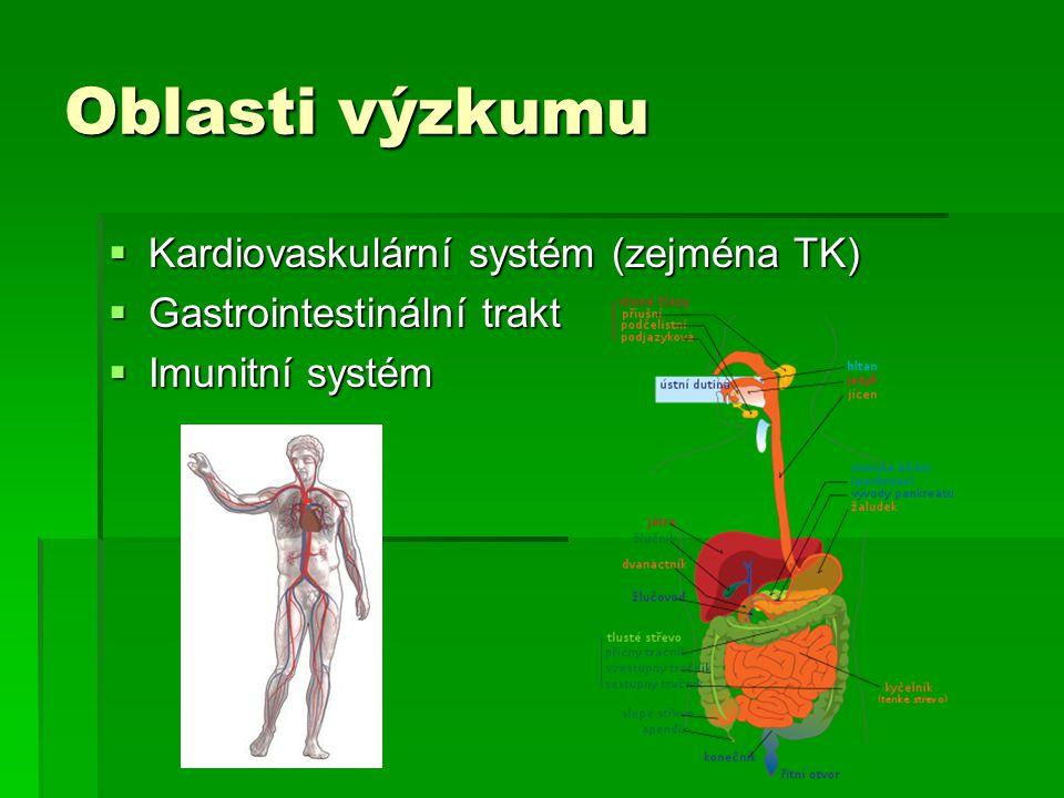 Oblasti výzkumu  Kardiovaskulární systém (zejména TK)  Gastrointestinální trakt  Imunitní systém