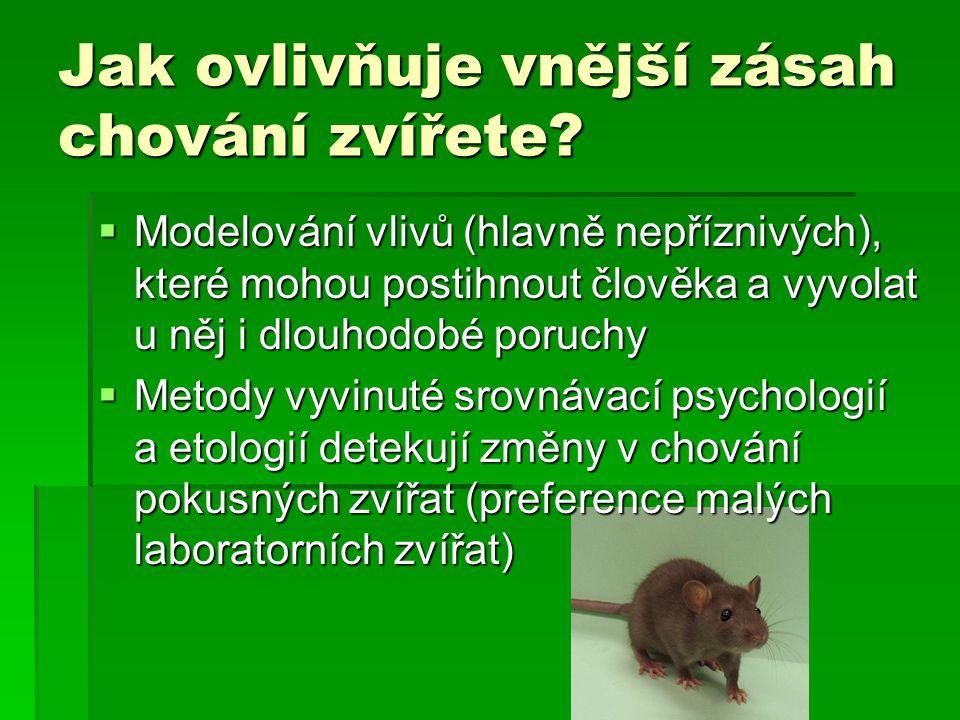 Jak ovlivňuje vnější zásah chování zvířete.