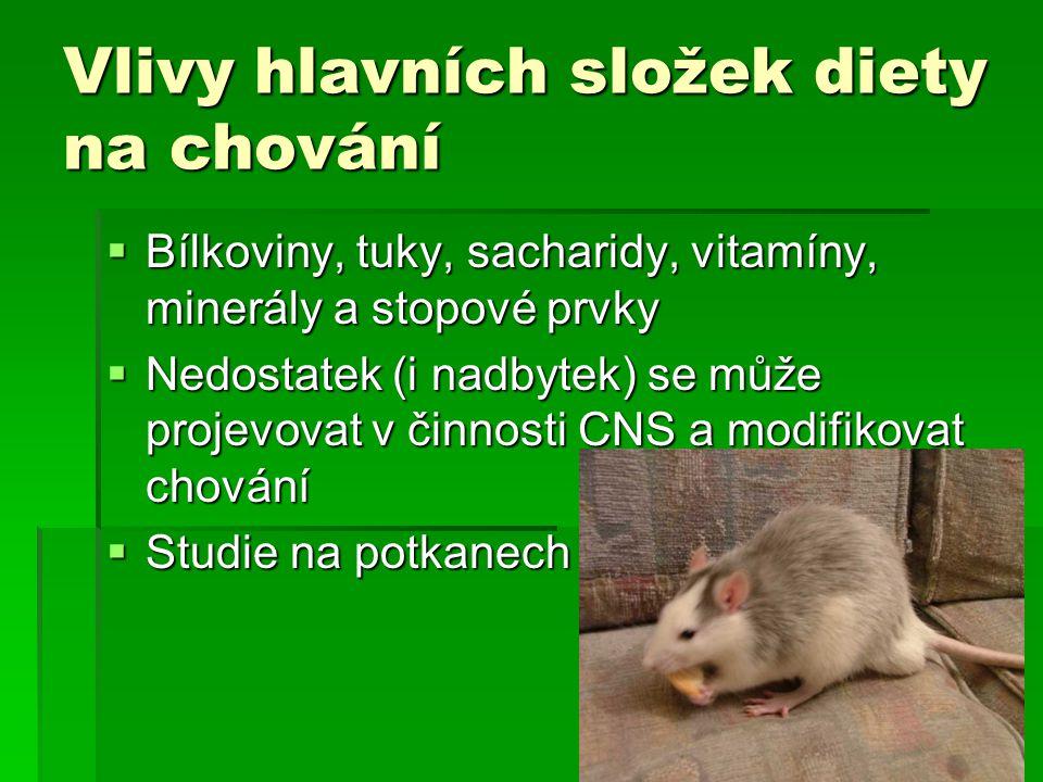 Vlivy hlavních složek diety na chování  Bílkoviny, tuky, sacharidy, vitamíny, minerály a stopové prvky  Nedostatek (i nadbytek) se může projevovat v činnosti CNS a modifikovat chování  Studie na potkanech