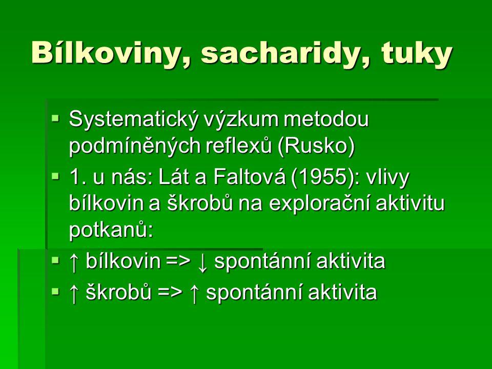 Bílkoviny, sacharidy, tuky  Systematický výzkum metodou podmíněných reflexů (Rusko)  1.