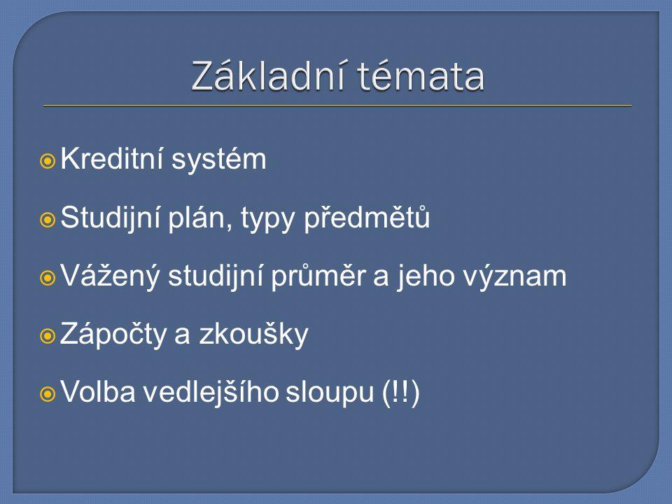  Kreditní systém  Studijní plán, typy předmětů  Vážený studijní průměr a jeho význam  Zápočty a zkoušky  Volba vedlejšího sloupu (!!)