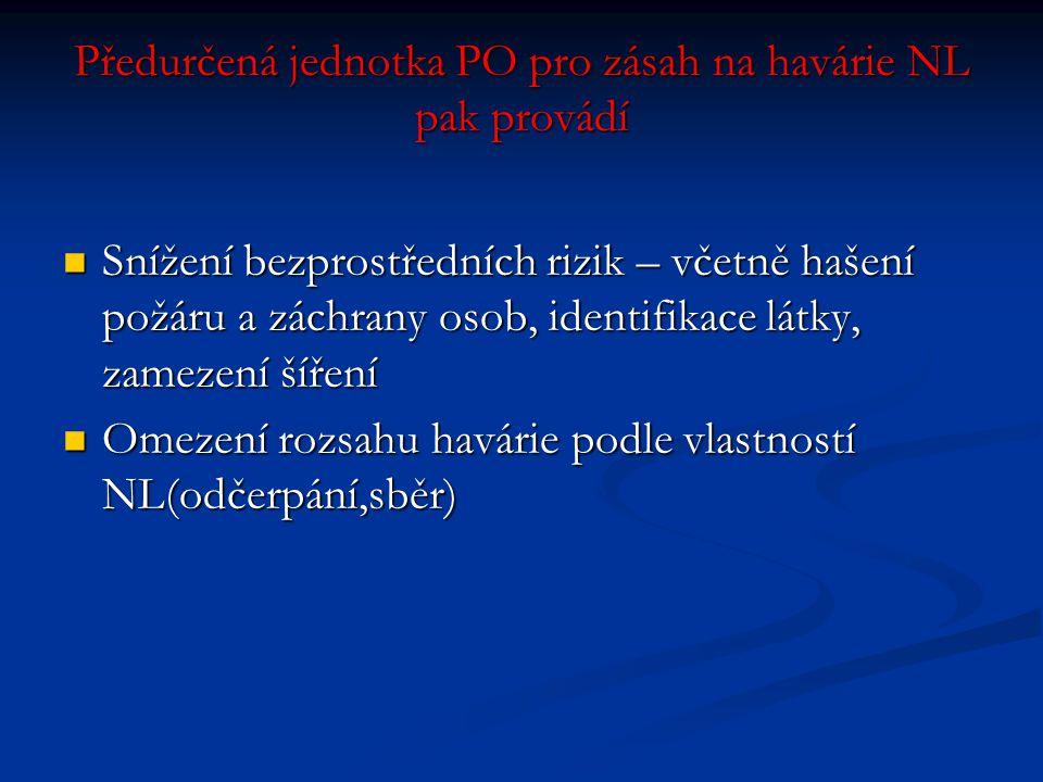 Předurčená jednotka PO pro zásah na havárie NL pak provádí  Snížení bezprostředních rizik – včetně hašení požáru a záchrany osob, identifikace látky,