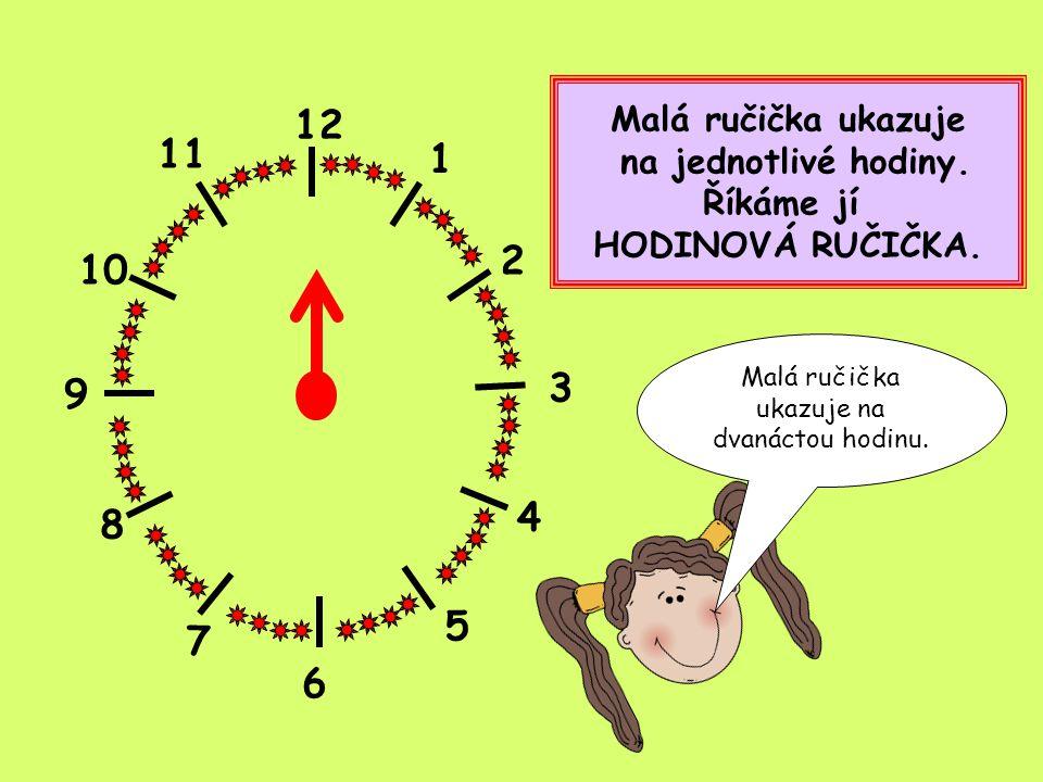 12 1 2 4 5 8 9 10 11 7 Velká ručička ukazuje na jednotlivé minuty.