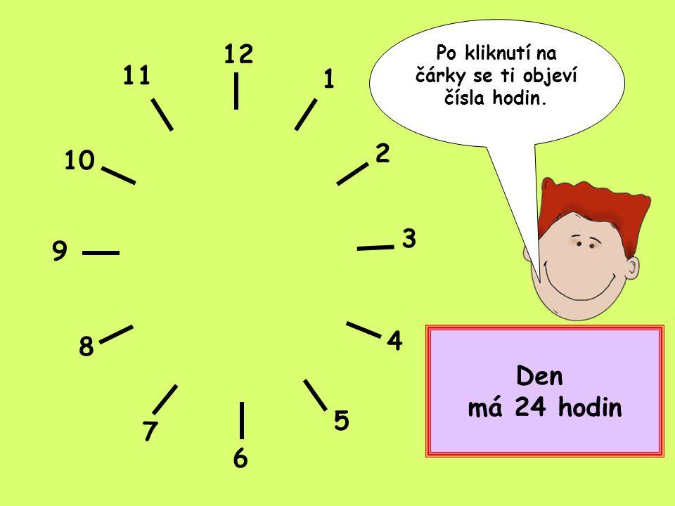 12 1 2 3 4 5 6 7 8 9 10 11 Klikni a objeví se ti minuty, které se ukrývají ve čtvrthodině.