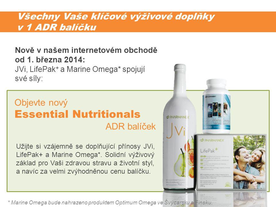 Všechny Vaše klíčové výživové doplňky v 1 ADR balíčku Užijte si vzájemně se doplňující přínosy JVi, LifePak+ a Marine Omega*. Solidní výživový základ