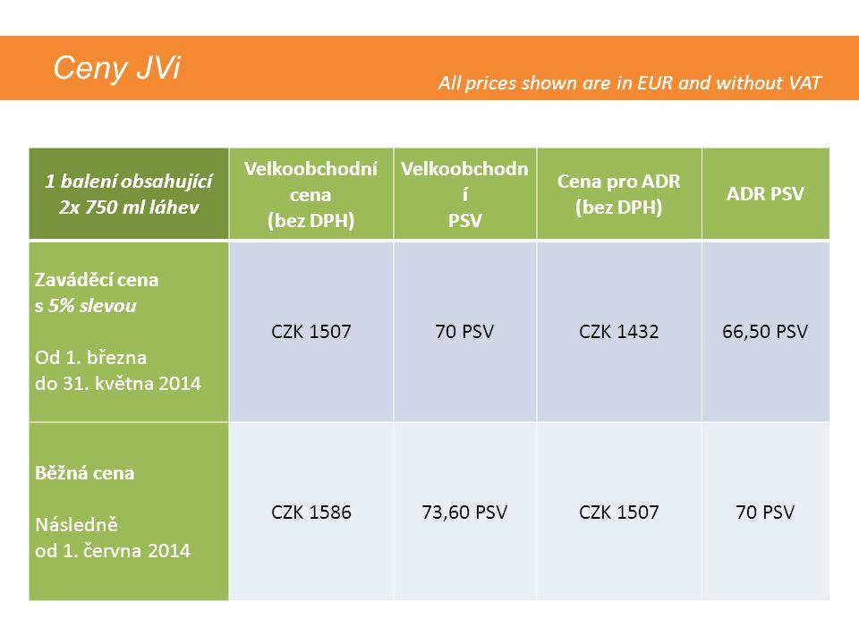 Ceny JVi 1 balení obsahující 2x 750 ml láhev Velkoobchodní cena (bez DPH) Velkoobchodn í PSV Cena pro ADR (bez DPH) ADR PSV Zaváděcí cena s 5% slevou