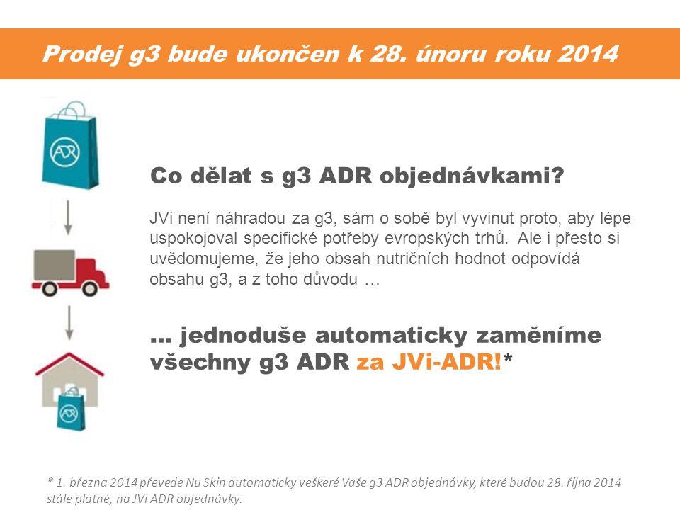 Prodej g3 bude ukončen k 28. únoru roku 2014 Co dělat s g3 ADR objednávkami? JVi není náhradou za g3, sám o sobě byl vyvinut proto, aby lépe uspokojov