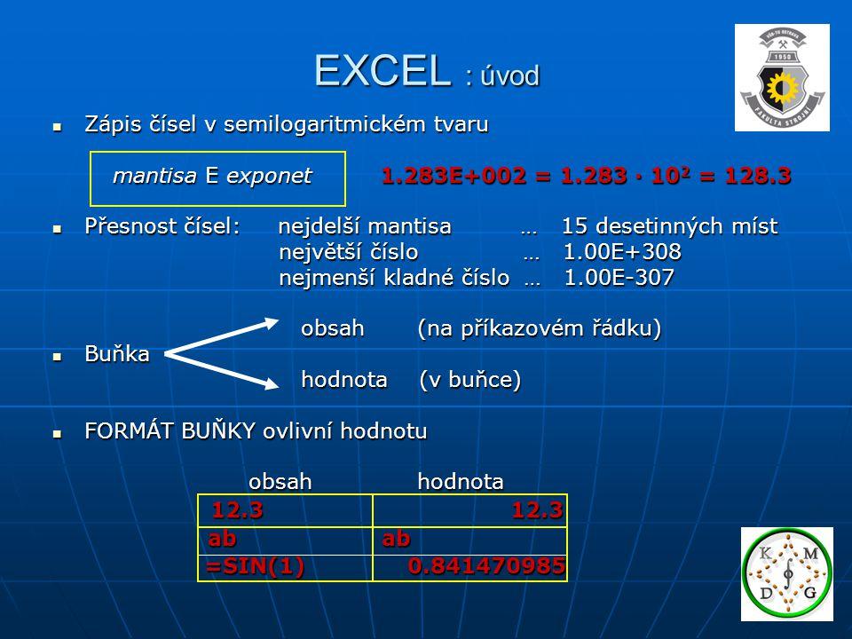 EXCEL : úvod  Odkaz na buňku pomocí adresy =C3+D2 absolutní (při kopírování se nemění) =$C$3 absolutní (při kopírování se nemění) =$C$3 relativní (při kopírování se mění) =C3 relativní (při kopírování se mění) =C3 =C3 =C3 =$C$3 =D4 =$C$3 =D4 =$C$3 =$C$3  Další odkazy: smíšené =C$3 =$C3 na oblast =B1:D3 na oblast =B1:D3 na jiný list =List2!C3 na jiný list =List2!C3 na jiný sešit =C:\[soubor.xls]List!C3 na jiný sešit =C:\[soubor.xls]List!C3 hypertextové hypertextové