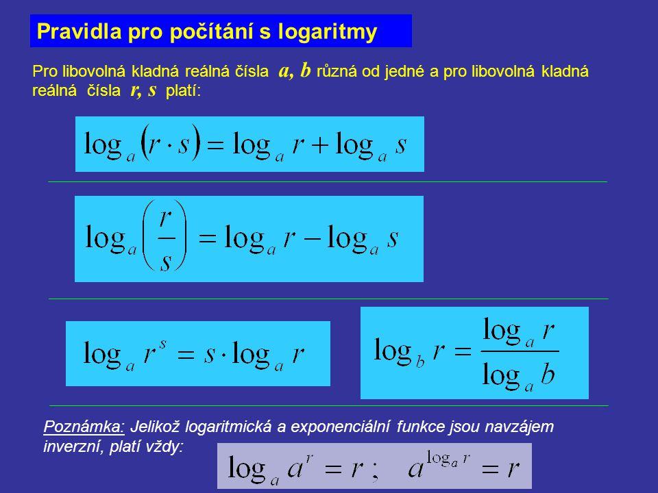 Pravidla pro počítání s logaritmy Pro libovolná kladná reálná čísla a, b různá od jedné a pro libovolná kladná reálná čísla r, s platí: Poznámka: Jeli