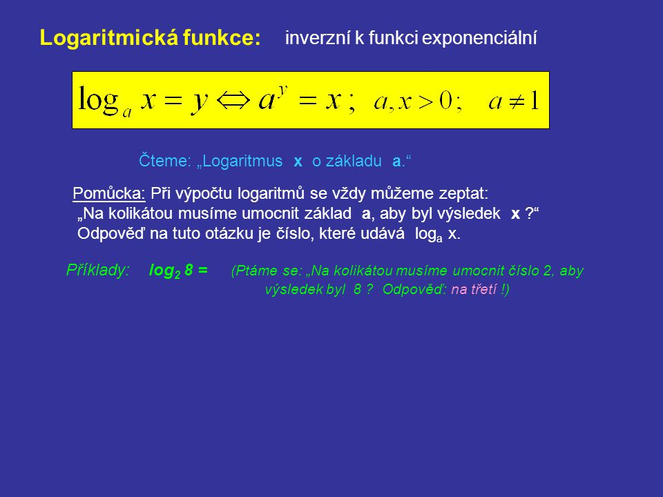 Dekadický logaritmus: logaritmus o základu 10 Označení: