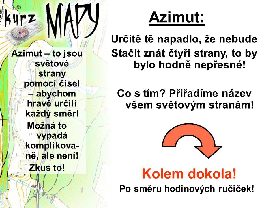 Azimut: Azimut – to jsou světové strany pomocí čísel – abychom hravě určili každý směr! Možná to vypadá komplikova- ně, ale není! Zkus to! Určitě tě n
