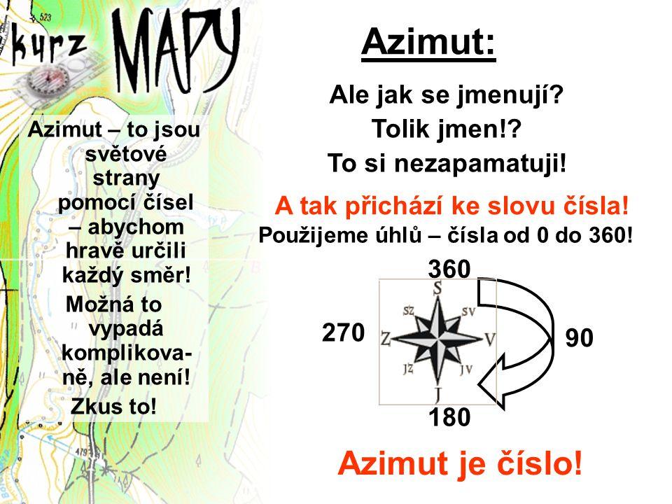 Azimut: Azimut – to jsou světové strany pomocí čísel – abychom hravě určili každý směr! Možná to vypadá komplikova- ně, ale není! Zkus to! Ale jak se