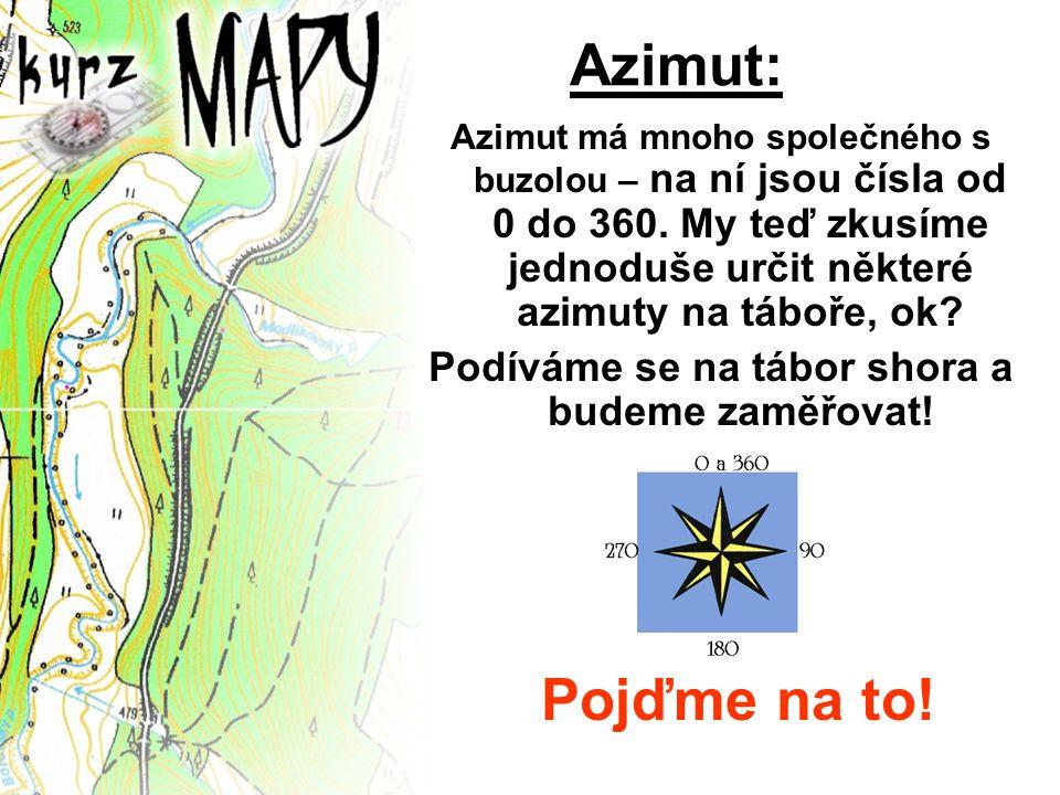 Azimut má mnoho společného s buzolou – na ní jsou čísla od 0 do 360. My teď zkusíme jednoduše určit některé azimuty na táboře, ok? Podíváme se na tábo