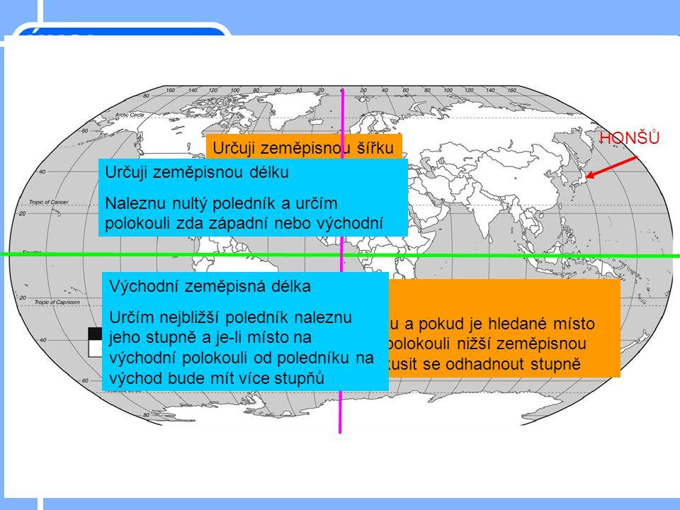 HONŠŮ Určuji zeměpisnou šířku Najdu rovník – určím zda severní nebo jižní Severní zeměpisná šířka Hledám nejbližší rovnoběžku a pokud je hledané místo