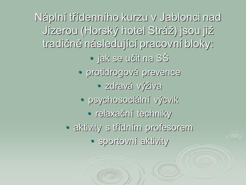 Náplní třídenního kurzu v Jablonci nad Jizerou (Horský hotel Stráž) jsou již tradičně následující pracovní bloky: •jak se učit na SŠ •protidrogová pre