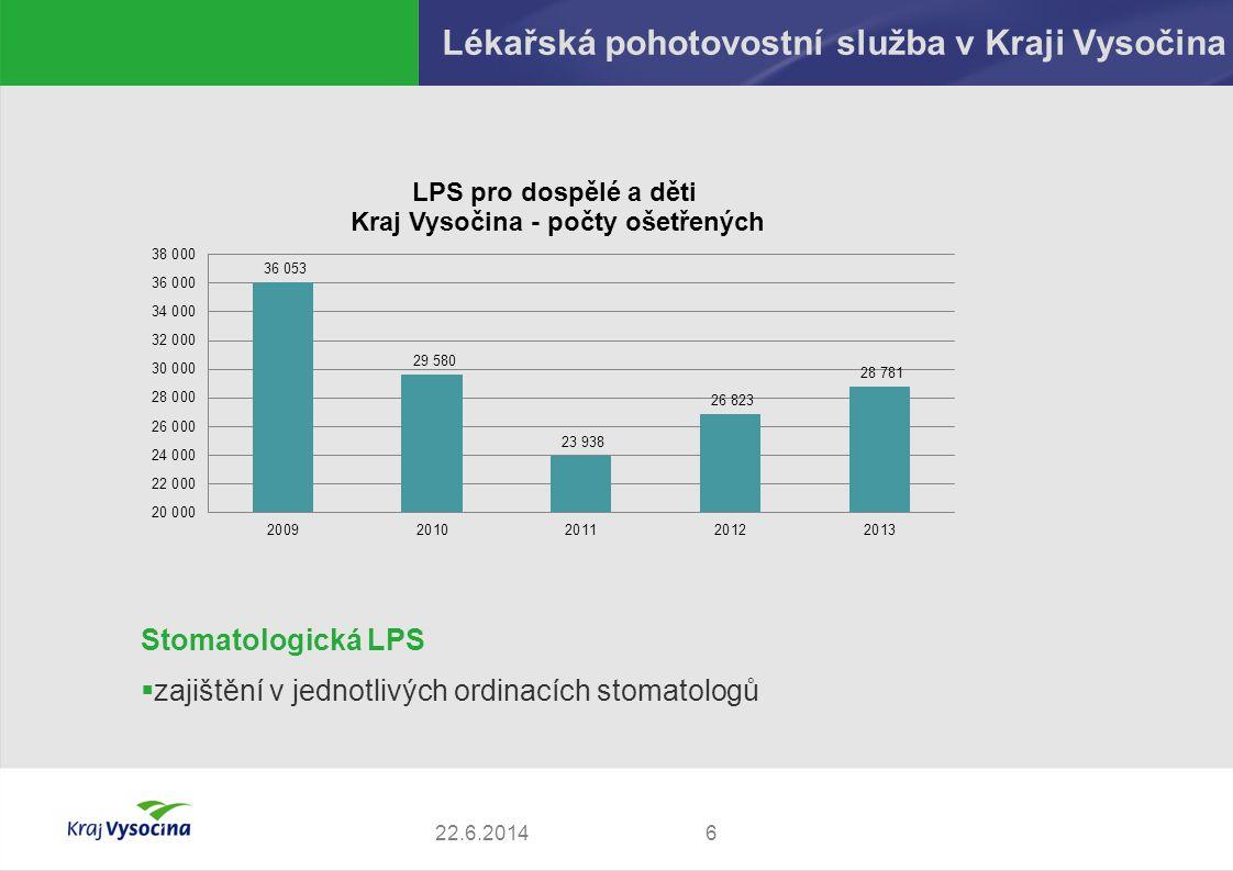 Lékařská pohotovostní služba v Kraji Vysočina 622.6.2014 Stomatologická LPS  zajištění v jednotlivých ordinacích stomatologů