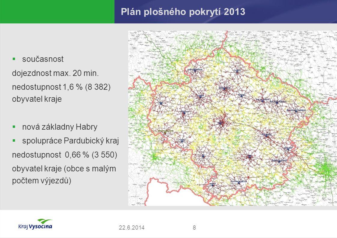 Plán plošného pokrytí 2013 822.6.2014  současnost dojezdnost max. 20 min. nedostupnost 1,6 % (8 382) obyvatel kraje  nová základny Habry  spoluprác