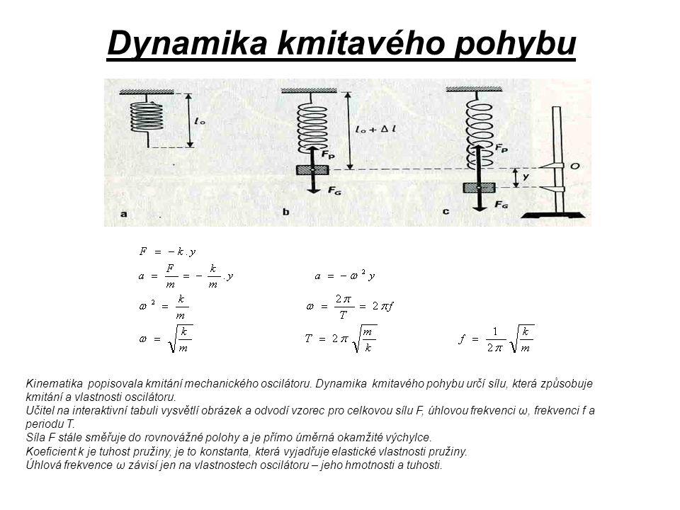 Dynamika kmitavého pohybu Kinematika popisovala kmitání mechanického oscilátoru. Dynamika kmitavého pohybu určí sílu, která způsobuje kmitání a vlastn