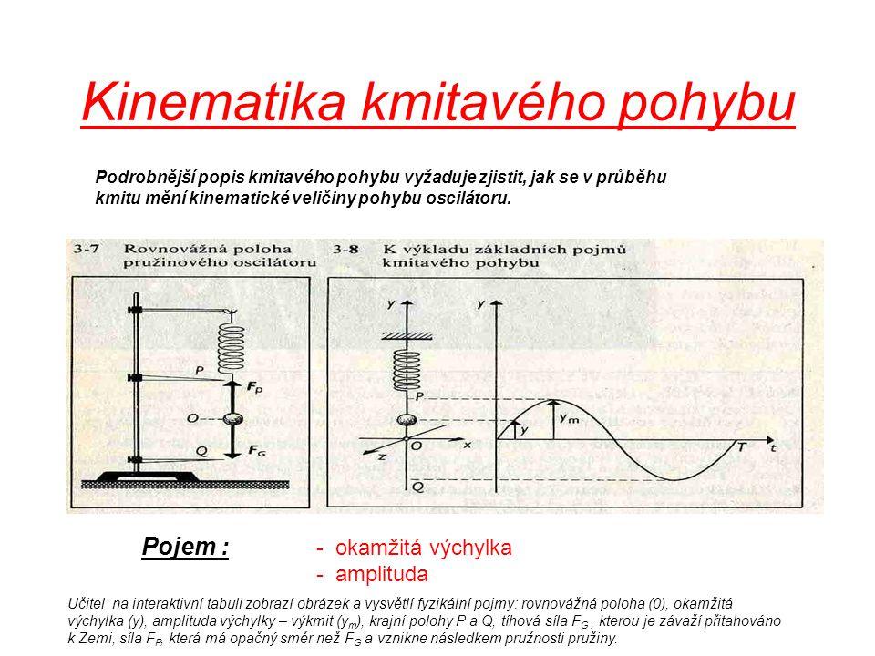 Podrobnější popis vyžaduje, jak se v průběhu kmitu mění kinematické veličiny pohybu oscilátoru Pojem : - okamžitá výchylka - amplituda Kinematika kmit