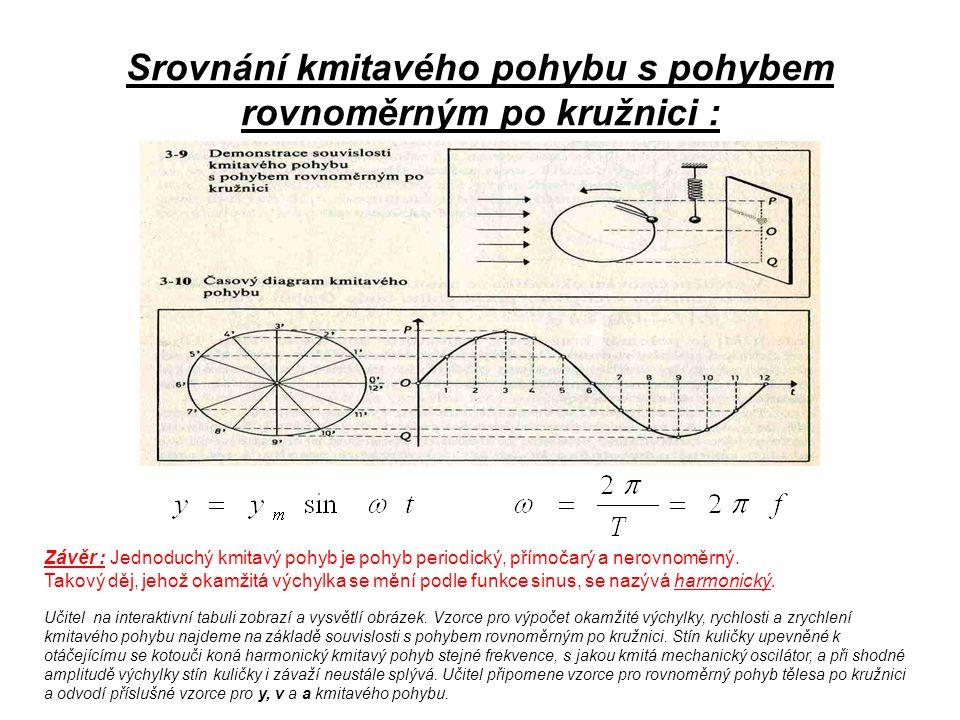 Srovnání kmitavého pohybu s pohybem rovnoměrným po kružnici : Závěr : Jednoduchý kmitavý pohyb je pohyb periodický, přímočarý a nerovnoměrný. Takový d