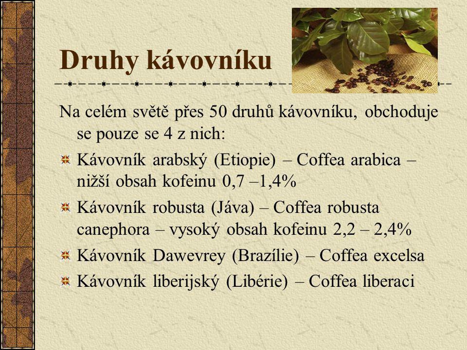 Druhy kávovníku Na celém světě přes 50 druhů kávovníku, obchoduje se pouze se 4 z nich: Kávovník arabský (Etiopie) – Coffea arabica – nižší obsah kofe