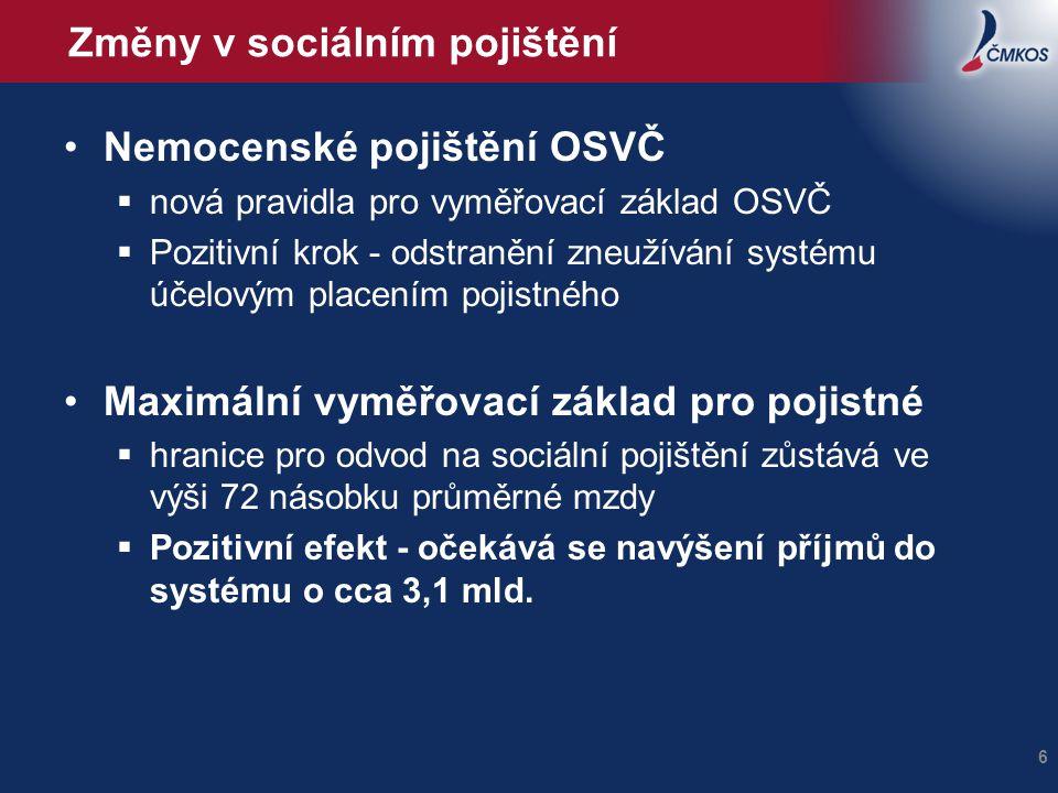 Změny v sociálním pojištění •Nemocenské pojištění OSVČ  nová pravidla pro vyměřovací základ OSVČ  Pozitivní krok - odstranění zneužívání systému úče