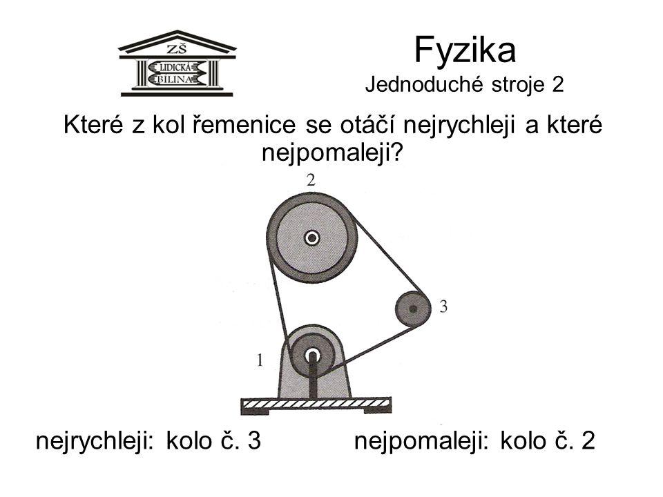 Fyzika Jednoduché stroje 2 Které z kol řemenice se otáčí nejrychleji a které nejpomaleji? nejrychleji:nejpomaleji:kolo č. 3kolo č. 2