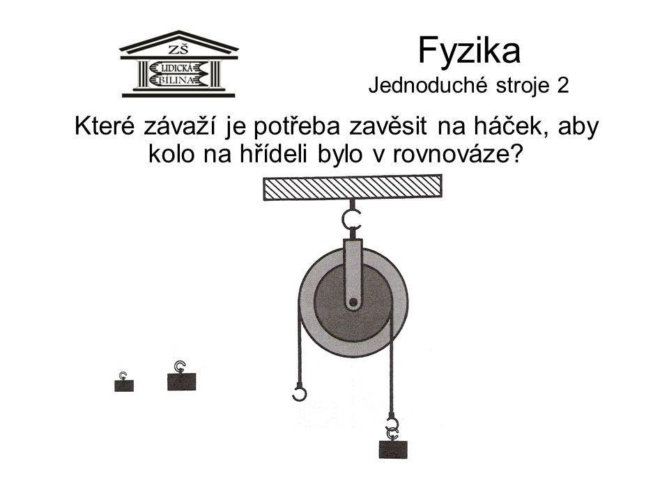 Fyzika Jednoduché stroje 2 Které závaží je potřeba zavěsit na háček, aby kolo na hřídeli bylo v rovnováze?