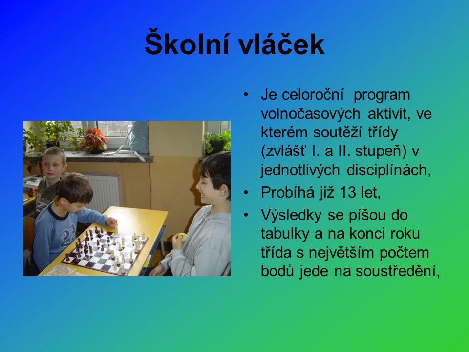 Školní vláček •Je celoroční program volnočasových aktivit, ve kterém soutěží třídy (zvlášť I.