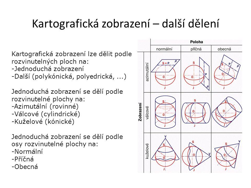 Kartografická zobrazení – další dělení Kartografická zobrazení lze dělit podle rozvinutelných ploch na: -Jednoduchá zobrazení -Další (polykónická, pol
