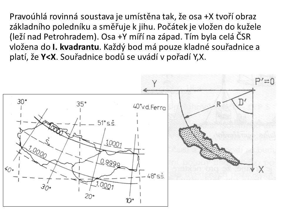 Pravoúhlá rovinná soustava je umístěna tak, že osa +X tvoří obraz základního poledníku a směřuje k jihu. Počátek je vložen do kužele (leží nad Petrohr