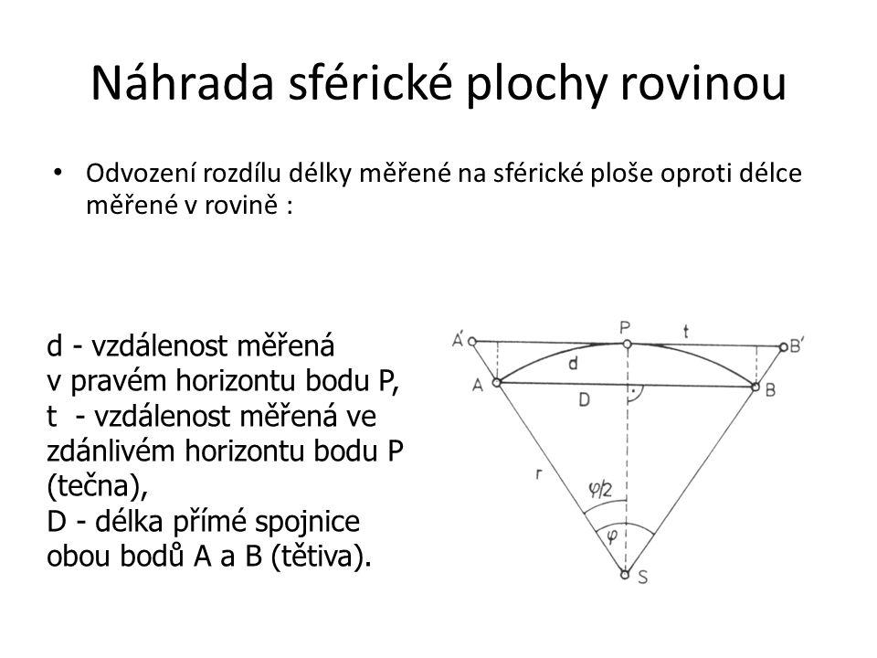 Náhrada sférické plochy rovinou • Odvození rozdílu délky měřené na sférické ploše oproti délce měřené v rovině : d - vzdálenost měřená v pravém horizo